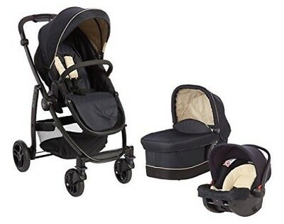 graco trio evo pushchair in navy and cream.