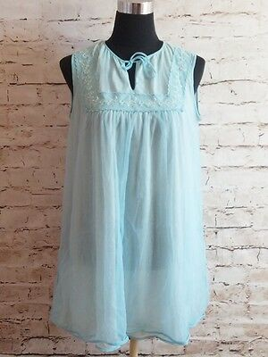 70s Vintage LINGERIE Baby Blue layered Nightgown Chiffon Nylon NEGLIGEE Nighty