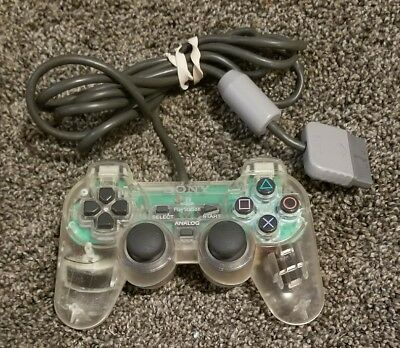 PS1 Playstation 1- Dualshock Analog Controller Original Sony SCPH-1200 Clear OEM