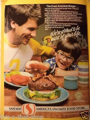 SAFEWAY GROCERY STORE HAMBURGER Magazine AD 1983 SPONSER OF 1984 OLYMPIC TEAM