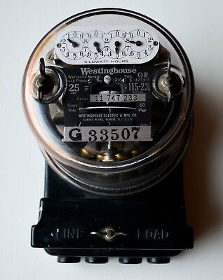 Westinghouse Watthour Meter Single Phase 25 AMP 115-230 Volts Type OB Vintage