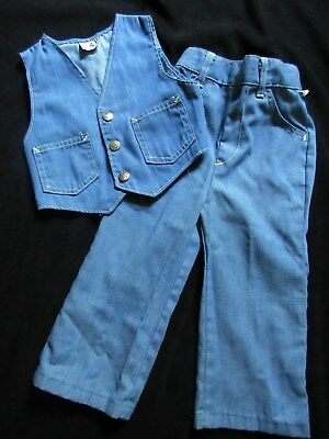 True Vintage Boy's Size 3T Denim Jeans & Vest Set By *billy The Kid*