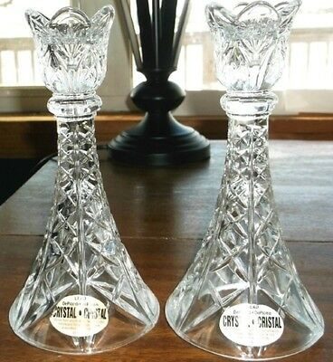 "Deplomo Crystal Candlestick Holders 2 Clear Glass 8"" Tall"