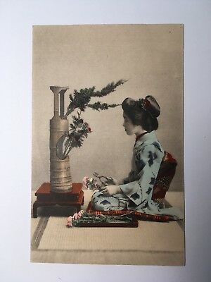 JAPANESE GEISHA arranging flowers, bonsai tree, hand tinted, ANTIQUE POSTCARD