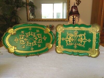 Vintage Italian Toleware Trays Green & Gold Gilt Wood Florentine Lot Of 2 Italy