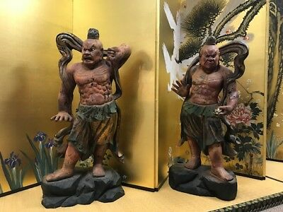 A Pair Of  Japanese Hardwood Nio (Niwo) Statue.