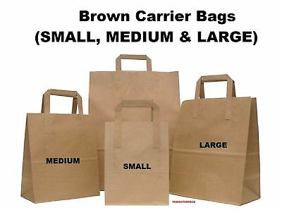 Brown Kraft Paper Sos Food Carrier Bags With Handles Party Takeaway Etc