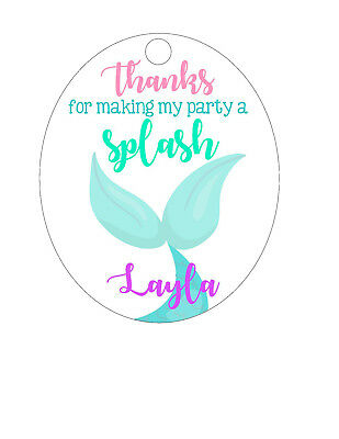 15 Personalized Custom Birthday Party Favor Tags. Mermaid fin, tail, Splash!