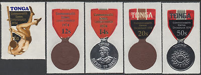 Tonga 1973 SG469-473 Commonwealth Games Christchurch Surcharges set MNH
