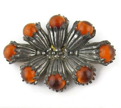 Vintage 1930s Paul Sargent 24KP Rhinestone Brooch Pin Art Deco Signed HTF