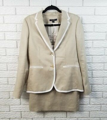 Brooks Brothers Linen Trimmed Skirt Suit 8 Beige Natural White Trim