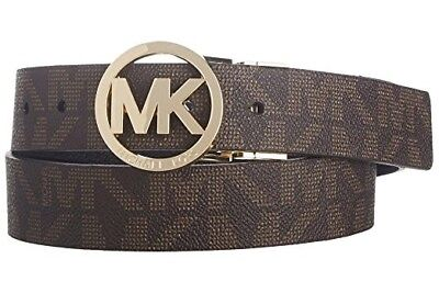New Michael Kors Women's Reversible MK Logo Belt Brown 551342