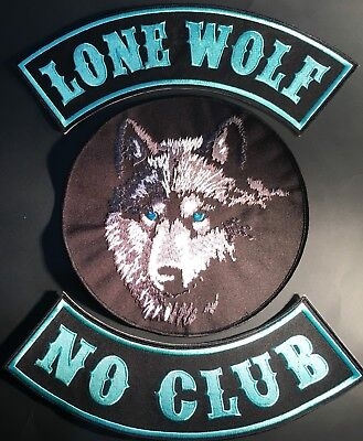 Lone Wolf No Club Motorcycle Biker Iron On Vest Lot Of 3 Patches