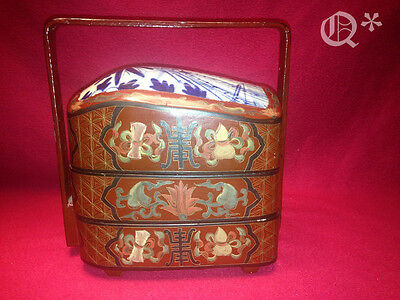 Vintage Chinese 3 Tier Shard Box Antique Porcelain Lid