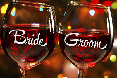 Bride Groom Wedding Champagne Wine Glass Mug Cup Decal Sticker Bridal Party Gift