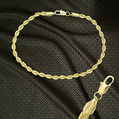 """14K ITALY GOLD PLATED 4mm ROPE CHAIN 9.5"""" QUALITY ANKLET BRACELET GUARANTEED R4C"""