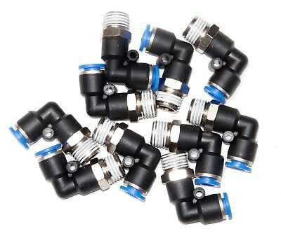 "10 Pieces  pneumatic 1/4"" Tube x 1/4"" NPT Male Swivel L push to connect  fitting"