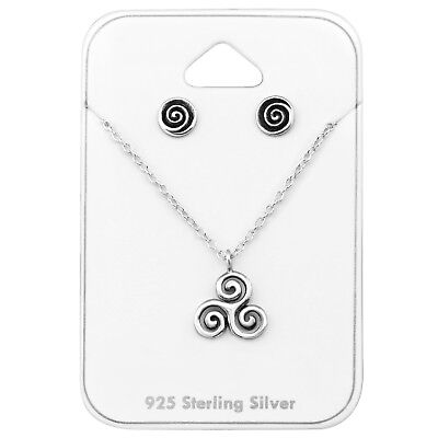 TJS 925 Sterling Silver Necklace and Stud Earrings Set Celtic Knot Spiral Swirl
