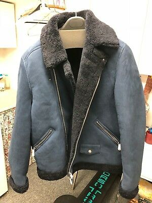 70729dddf Bonobos - The Shearling Leather Bomber Jacket, Navy Blue, Size L (slim fit)