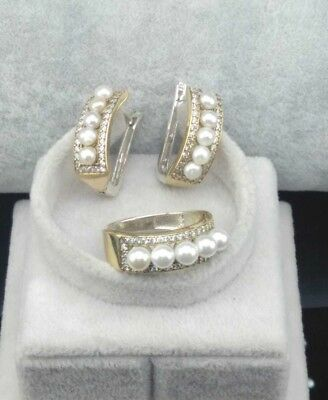 925 Sterling Silver Handmade Jewelry  White Pearl Ladies Earrings Set