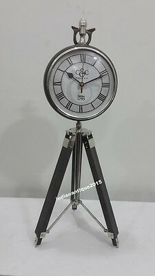 Beautiful Nautical Vintage Tripod  Table  Clock With Adjustable Legs and Face
