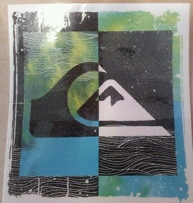 QUIKSILVER STICKER 3 for $10 DECAL BLUE GREEN SURF WAVE LOGO FREE POST