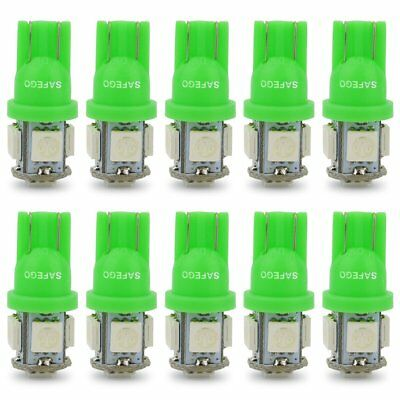 10x T10 W5W Led Car Light Green Bulbs 194 168 501 192 SMD 5050 Wedge Replacement