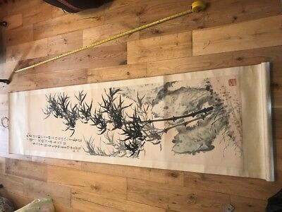 Genuine/Original Vintage/Old Chinese Hand Painted Watercolour Painting Scroll 1