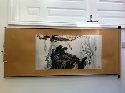 Genuine/Original Vintage/Old Chinese Hand Painted Watercolour Painting Scroll 2