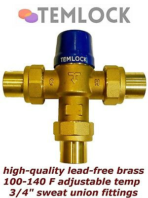 """Thermostatic Mixing Valve Point-Of-Source 3/4"""" Sweat Union 100-140°F Lead-Free"""