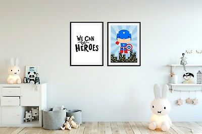 Captain America Prints for Boys Bedroom, We Can Be Heroes, Boys Pictures