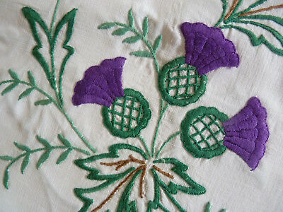 SCOTCH THISTLES Vintage Heavily Hand Embroidered Tea Cosy/ Toaster Cover