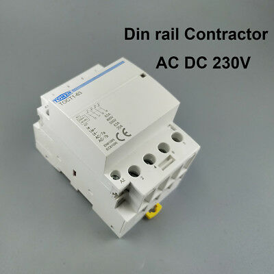 TOCT1 4P 63A AC DC 230V coil Din rail Household contactor 4NO