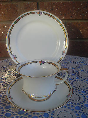 Paragon Trio Fine Bone China Retro Design Gilt Bands & Fruit