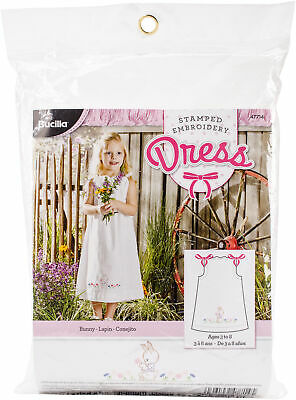 Bucilla Bunny Pillowcase Dress Stamped For Embroidery Kit-Size 3-8
