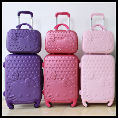 Luggage Travel Suitcase Hello Kitty Case Trolley Rolling Wheels Pink FREE SHIP