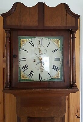 19th C 8 DAY LONGCASE CLOCK OTTERY Painted Dial very nice clock in light oak cas