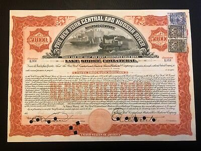 1907 NY Central RR $50000 Bond Issued to Vanderbilts $250 in Secured Debt Stamps