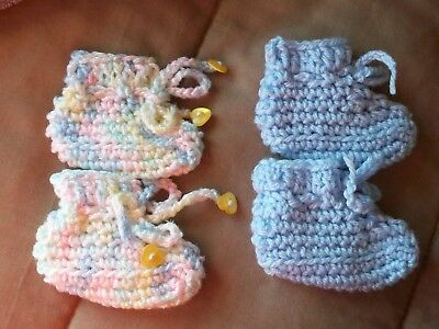 Baby Booties Boy 2 pair Baby Variegated and Blue size Newborn