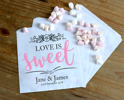 Personalised Wedding Sweet / Sweetie - Candy Cart Favour Bags - Love is Sweet