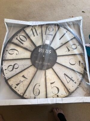 Large French Shabby Chic Wall Clock 58Cm Antique Vintage Style New & Boxed