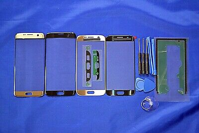Samsung Galaxy S7 Front BLACK Glass Screen Lens Repair Replacement with stickers