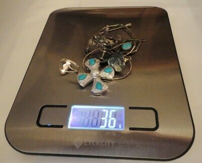 Sterling Silver 2 Turquoise Pendants, Earrings Ring for Wear or Resell - Wt 36g