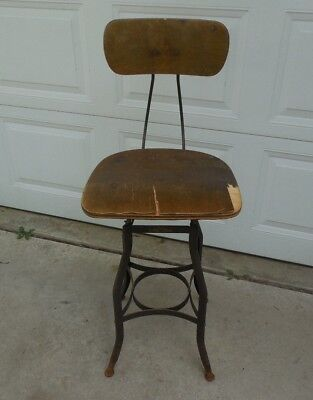 Vintage Industrial Drafting Work Stool Chair Toledo Metal Furniture Curved Wood