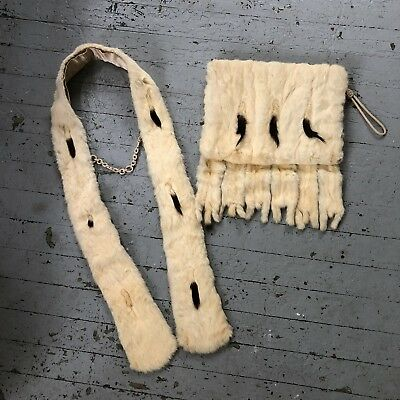 Victorian/Edwardian 1920's Ermine Fur Scarf And Muff Set