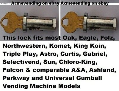 2) LOCK & KEY Sets for EAGLE, ASTRO or FOLZ GUMBALL Candy Nut VENDING MACHINE