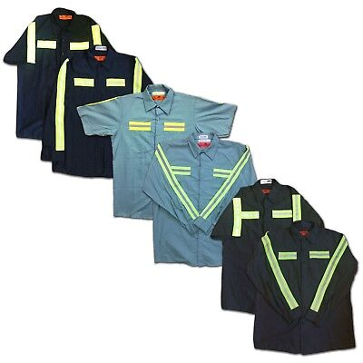Red Kap Enhanced Visibility Hi Vis Industrial 2 Pocket Work Shirt Reflective
