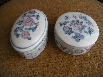 two Vintage-Blue-White-Pink-Porcelain-Asian-Chinese-Shard-Trinket-Jewelry-Box