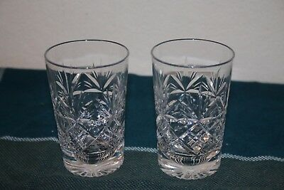 2 Lovely small cut crystal spirit tumblers. Very good condition.