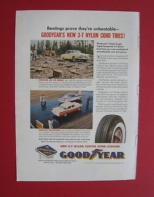 1957 Good Year New 3-T Nylon Cord Tires Color AD